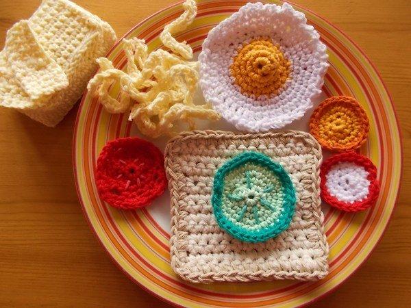 Essen Für Die Spielküche Häkeln Toast Butter Spiegelei Gemüse