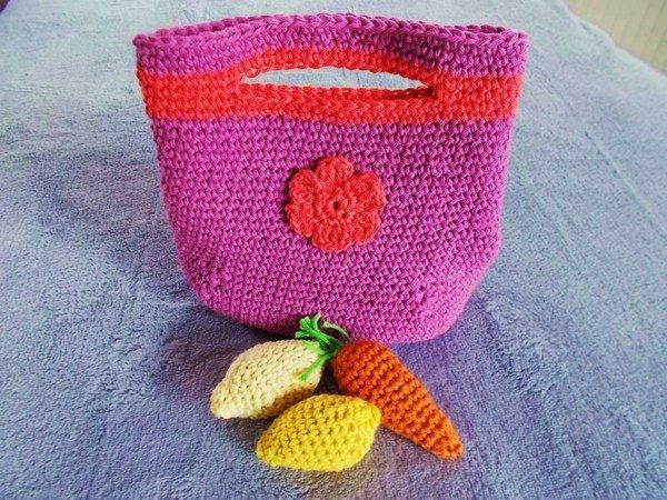 Einkaufstasche Für Kleinkinder Häkeln Mit Zitronen Und Karotten