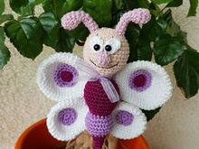 "Crochet Pattern Flower Stick ""Frieda"" Butterfly"