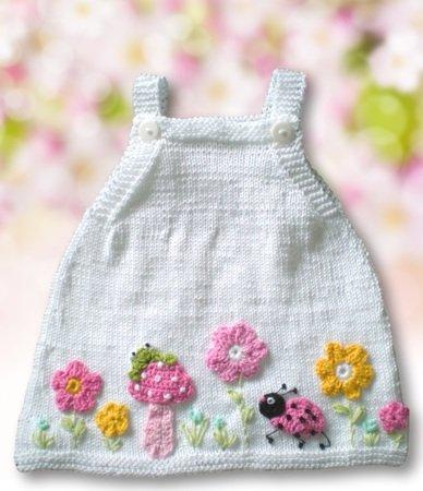 Babykleid Strickanleitung Blumenwiese