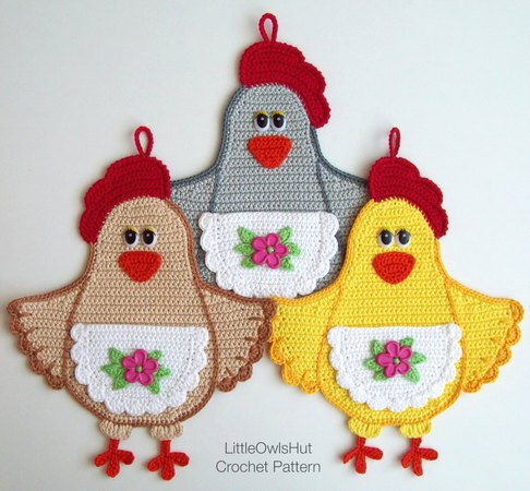 067 Crochet Pattern - Lady Chicken Potholder or decor  - Amigurumi PDF file by Zabelina CP
