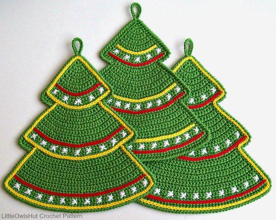 087 Crochet Pattern Christmas Tree Potholder Or Decor Amigurumi