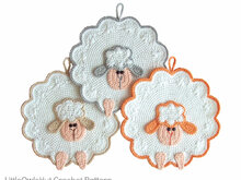 053 Crochet Pattern - Sheep Potholder or decor  - Amigurumi PDF file by Zabelina CP