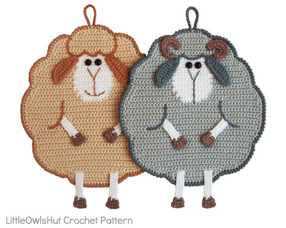 065 Crochet Pattern - Mr and Mrs Sheep Potholder or decor  - Amigurumi PDF file by Zabelina CP