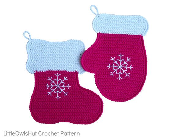 110 Crochet pattern - Stocking and Mitten Potholder or decor  - Amigurumi PDF file by Zabelina CP