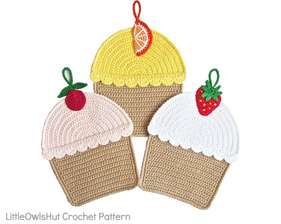 042 Crochet Pattern - Cupcakes Potholder or decor  - Amigurumi PDF file by Zabelina CP