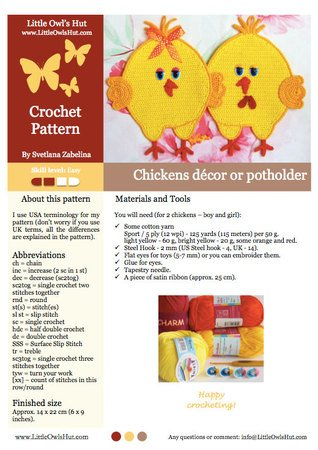 051 Crochet Pattern - Chickens Potholder or decor  - Amigurumi PDF file by Zabelina CP
