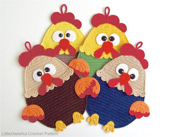 128 Crochet Pattern - Rooster Potholder or decor  - Amigurumi PDF file by Zabelina CP