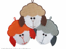 076 Crochet Pattern - Sheep's head Potholder or decor  - Amigurumi PDF file by Zabelina CP