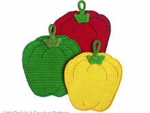 070 Crochet Pattern - Sweet peppers Potholder or decor  - Amigurumi PDF file by Zabelina CP