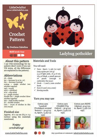 150 Crochet Pattern - Ladybug Potholder or decor - Amigurumi PDF file by Zabelina CP