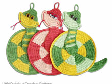 015 Crochet Pattern - Snake Potholder or decor  - Amigurumi PDF file by Zabelina CP