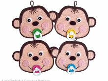 079 Crochet Pattern - Baby monkey Potholder or decor  - Amigurumi PDF file by Zabelina CP