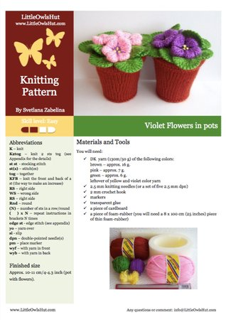 189 Knitting Pattern - Violets flowers in pots. Window, home decoration - by Zabelina CP