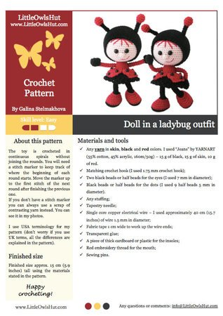 146 Crochet Pattern - Girl doll in a Ladybug outfit - Amigurumi PDF file by Stelmakhova CP