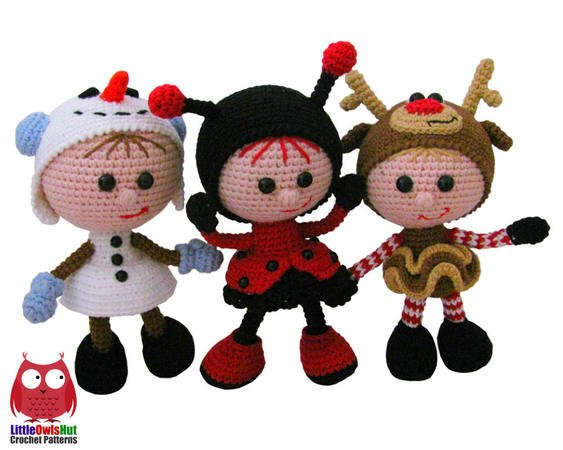 146 Crochet Pattern Girl Doll In A Ladybug Outfit Amigurumi Pdf