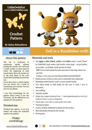 173 Crochet Pattern - Girl Doll in a Bumblebee outfit - Amigurumi PDF file by Stelmakhova CP