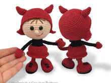 158 Crochet Pattern - Girl doll in a Halloween devil outfit - Amigurumi PDF file by Stelmakhova CP