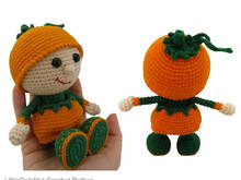 127 Crochet Pattern - Girl doll in a Pumpkin outfit - Amigurumi PDF file by Stelmakhova CP