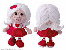 125 Crochet Pattern - Girl doll in a Valentine outfit - Amigurumi PDF file by Stelmakhova CP