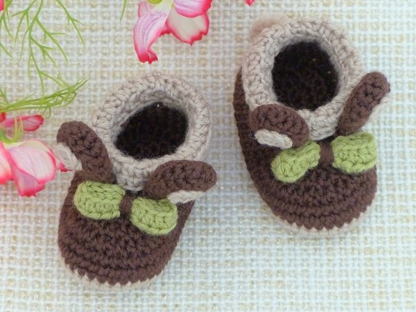 "Baby Booties ""Bunny"", 0-6 months – Crochet Pattern"