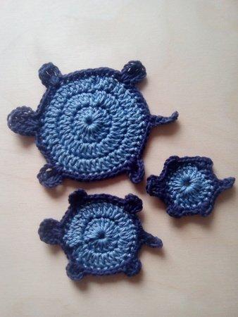 Häkelanleitung Schildkröte Applikation 3 Teilig