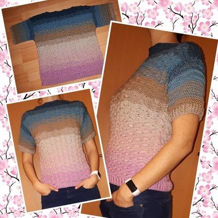 Lisa Multianleitung Pullover Pullunder T Shirt mit Roll Stehkragen gehäkelt