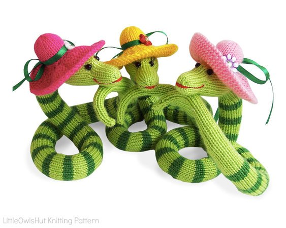 008 Knitting Pattern - Snake Beauty - Amigurumi PDF File by Zabelina CP