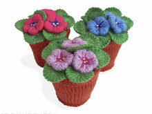 189 Knitting Pattern - Violets flowers in pots. Window, home decoration - Amigurumi PDF file by Zabelina CP