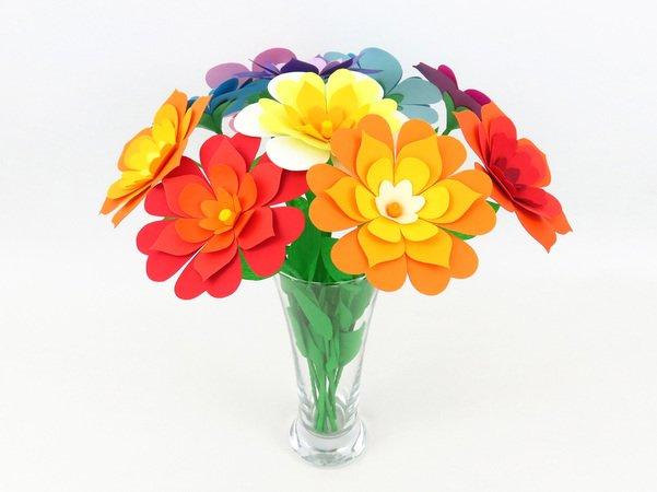 Bunte Blumen – Bastelvorlagen mit Anleitung