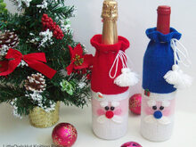 152 Knitting Pattern - Santa bottle covers for wine and champagne - Amigurumi PDF file by Zabelina