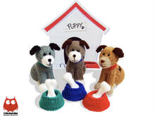 181 Knitting Pattern - Dogs with bowls and bones - Amigurumi PDF file by Zabelina CP