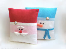 176 Knitting Pattern - Santa and Snowman Christmas Pillow cases with pillows - Amigurumi PDF file by Zabelina CP