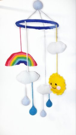 Crochet pattern Mobile for child's bed PDF english-deutsch-dutch