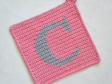"Letter ""C"" Potholder Crochet Pattern - for beginners"