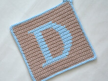 "Letter ""D"" Potholder Crochet Pattern - for beginners"