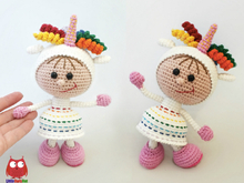 197 Crochet Pattern - Girl doll in an Unicorn outfit - Amigurumi PDF file by Stelmakhova CP