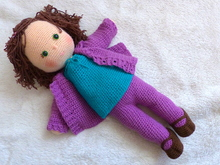 Doll Lizzy, Toddler doll, doll with hair, crochet pattern doll