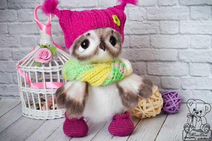 Petunia the Pink Owl - A Plush Stuffed Amigurumi Owl Handmade in ... | 450x675