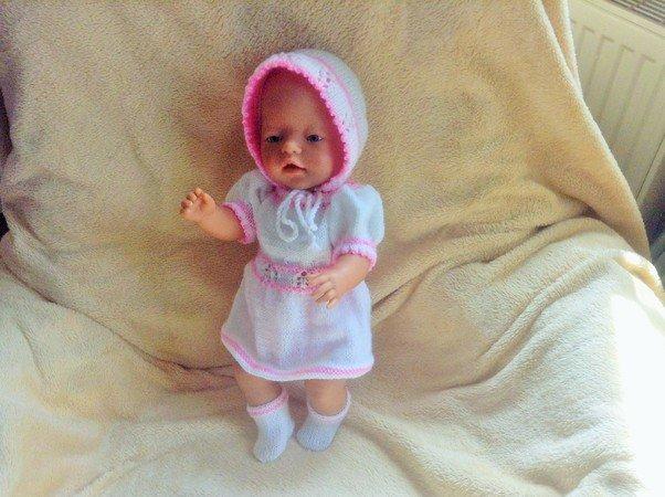 Strickanleitung für Puppen 40/45 cm Kleidchen,Mütze,Hose,Socken