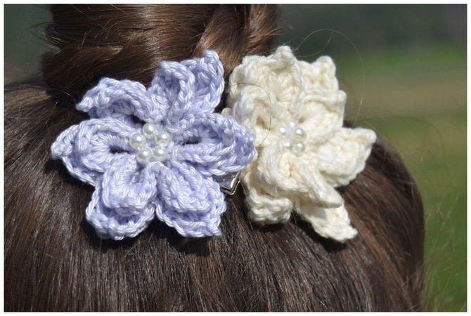 Blossom Haarblüte Häkeln Haarschmuck Brautschmuck Deko