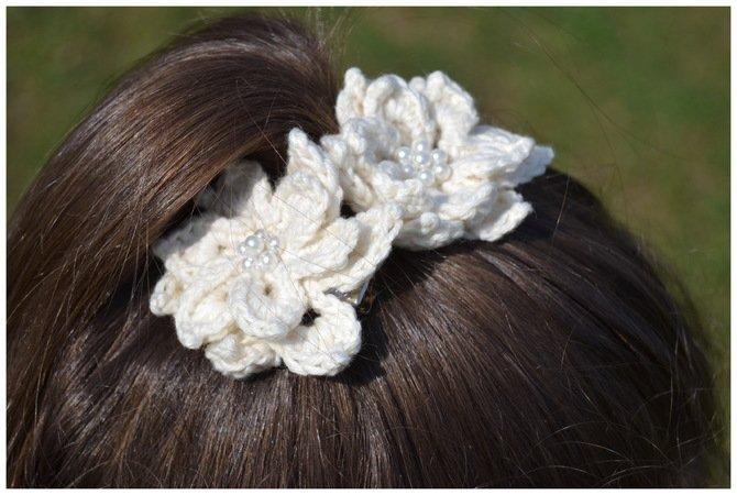 BLOSSOM - Haarblüte häkeln, Haarschmuck, Brautschmuck, Deko ...