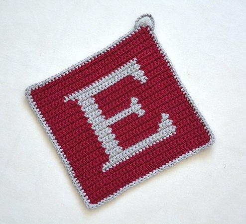 Letter E Potholder Crochet Pattern For Beginners