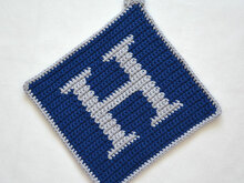 "Letter ""H"" Potholder Crochet Pattern - for beginners"