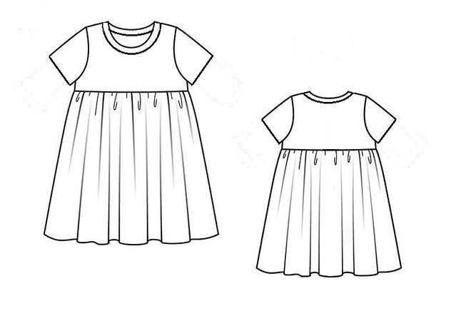 Knitted Dress for girl, short and long sleeves,dress for home, sewing pattern, sizes 1-7 years.