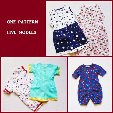 Romper for baby and toddler,Overalls  girl boy baby children clothes, children's sewing pattern and instruction,to fit 3 months to 3 years