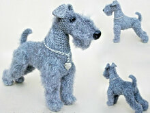 103 Crochet Pattern - Kerry Blue Terrier dog with wire frame - Amigurumi PDF file by Chirkova CP