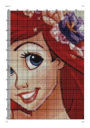 mermaid cross stitch pattern, cartoon embroidery