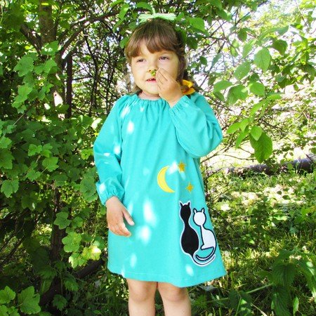 Dress and blouse for girls, toddler, baby, PDF sewing pattern, to fit 1 to 7 years.