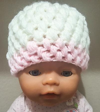Süße Babymütze Mit Büschelmaschen Newborn 2 Mon